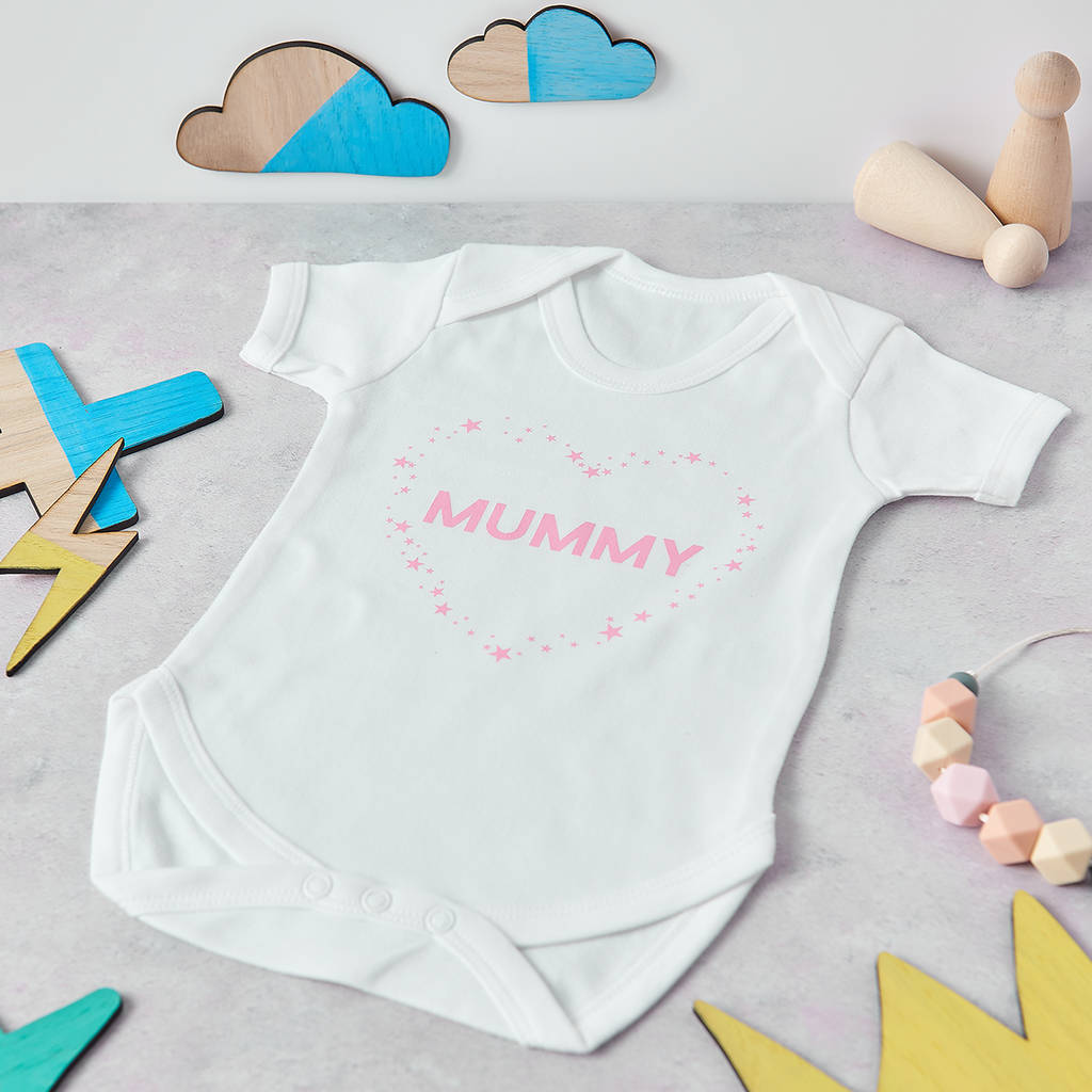 Personalised Mummy Love Heart Baby Grow