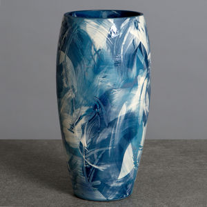 Handmade Ceramic Blue Vase Under The Waves Series - vases