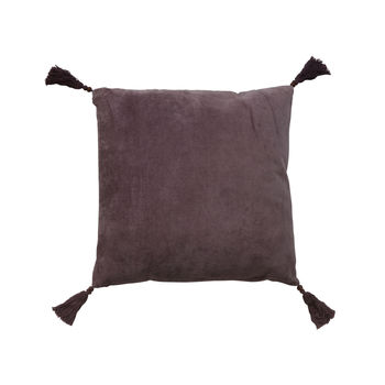 Purple Velvet Square Cushion With Tassels