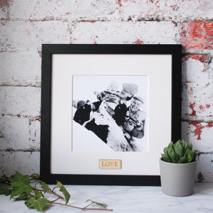 Personalised Wooden Word Black And White Picture Frame - picture frames