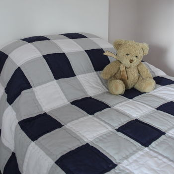Blue And Grey Gingham Bedspread Quilt