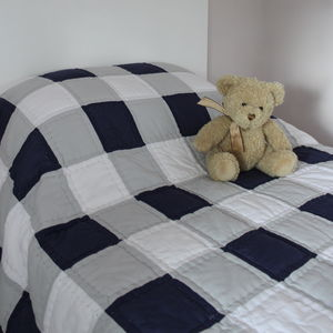 Blue And Grey Gingham Bedspread Quilt - bedroom