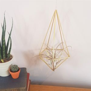 Brass Himmeli 'Pent' Geometric Plant Holder