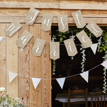 Hessian Burlap Just Married Wedding Bunting Decoration