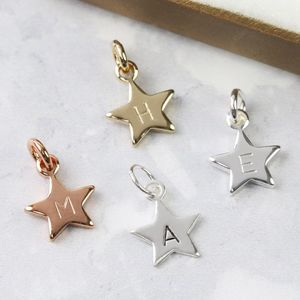 Personalised Star Charm With Hand Stamped Initial - winter sale