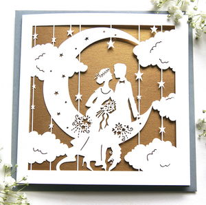 Wedding Card Paper Moon In Rose Gold - wedding cards