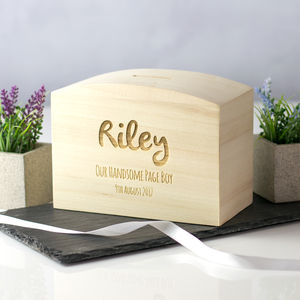 Personalised Page Boy Money Box Gift