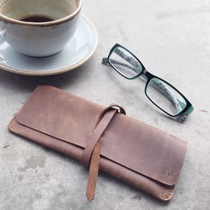 Personalised Leather Glasses Case With Leather Wrap - glasses cases