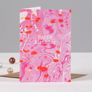 Marble Happy Birthday Card - cards