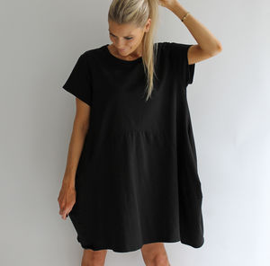 Black Scoop Hem Jersey Dress