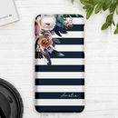 Personalised Floral Stripe Phone Case