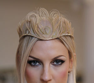 Gold Peacock Feather Tiara With Swarovski
