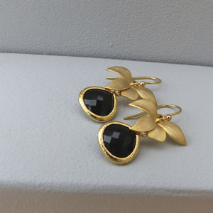 Black Orchid Drop Earrings