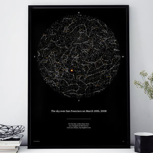 Night Sky Personalised Sky Map In Deep Black - posters & prints