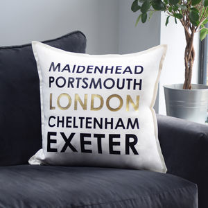 Personalised Metallic Memorable Location Cushion - personalised cushions