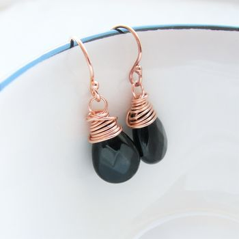 Black Onyx And Rose Gold Drop Earrings