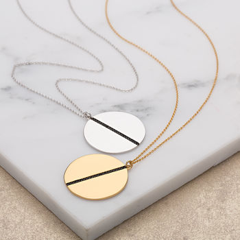 Black Nano Disc Necklace With Slider Clasp