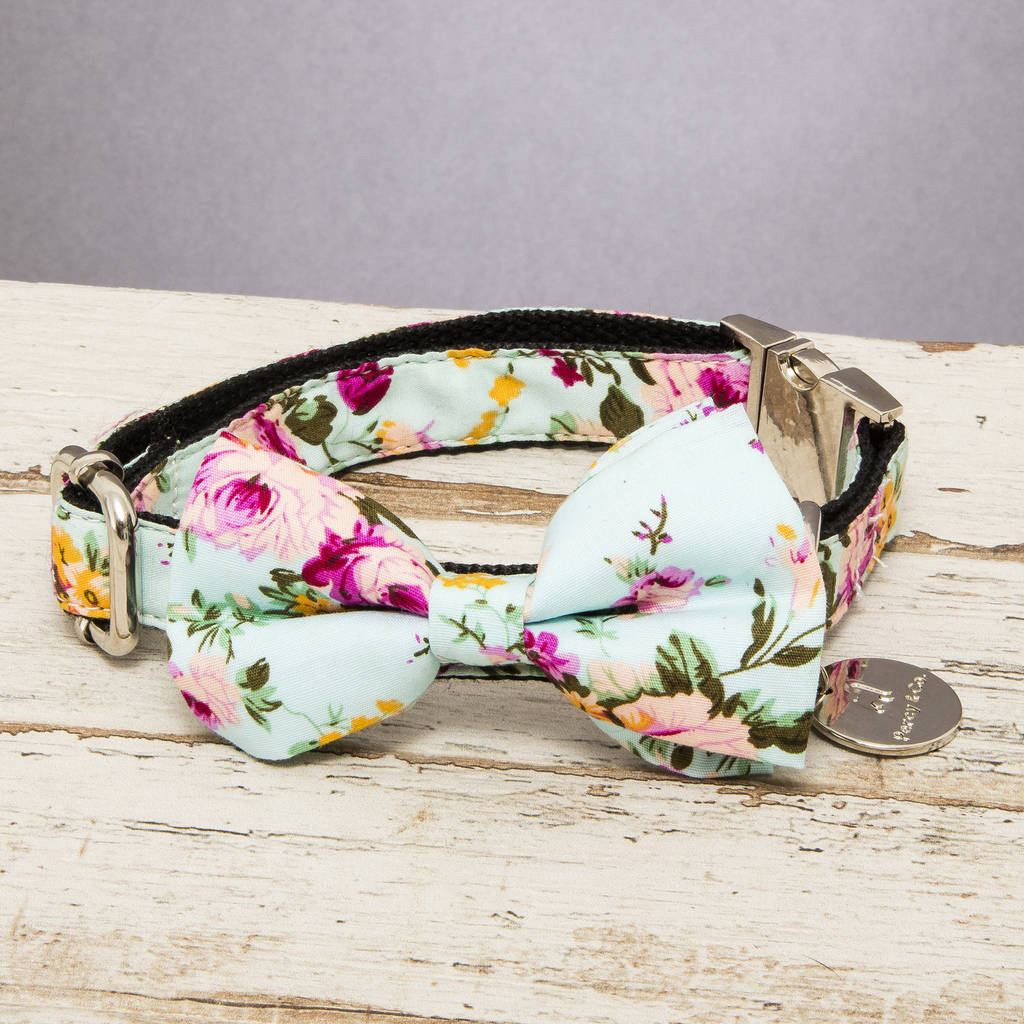 The Barnes Blue Floral Dog Collar Bow Tie
