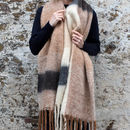 Personalised Chunky Knit Neutral Colour Blanket Scarf