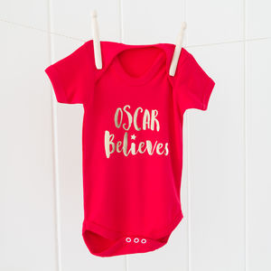 Personalised 'name' Believes T Shirt Or Baby Grow
