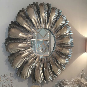Camon Pewter Leaf Large Round Mirror - mirrors