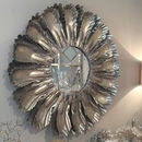 Camon Pewter Leaf Large Round Mirror
