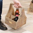 Personalised Wooden Vintage Six Beer Bottle Carrier