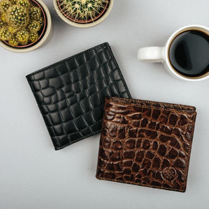 Mens Sleek Leather Wallet. 'The Vittore Croco'
