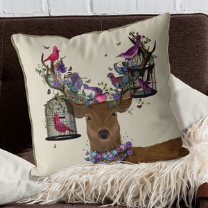 Deer And Bird Cages Decorative Cushion