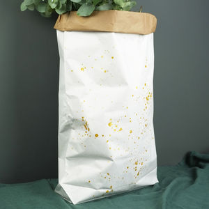 Large Gold Splash White Paper Bag, Christmas Sack - stockings & sacks