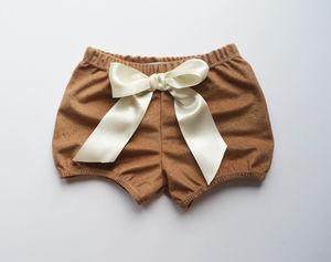 Girls Camel Suede Bloomers - babies' shorts