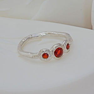 Three Stone Gemstone Ring - january birthstone