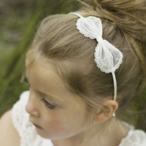 Sophia Ivory Spot Flower Girl Bow Hairband - for children