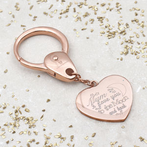 Personalised Moon And Back Love Heart Keyring - valentine's gifts for her