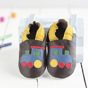 Train Soft Leather Baby Shoes - socks, tights & booties