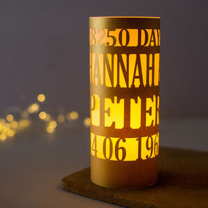 Personalised Golden Wedding 50th Anniversary Lantern