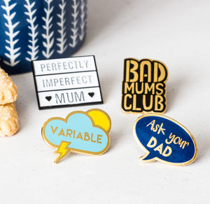 Set Of Four 'Mums Life' Enamel Pin Badges