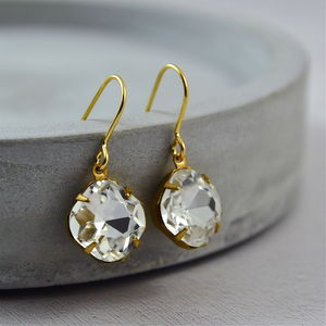 Gold Crystal Jewel Earrings - jewellery sale