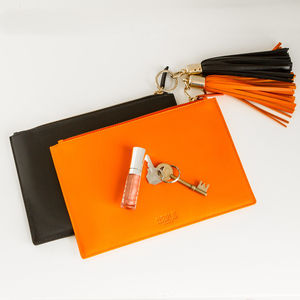 Leather Tassel Pouch - clutch bags