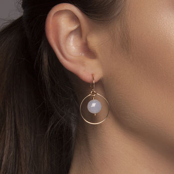 Gold Or Silver Blue Chalcedony Halo Earrings