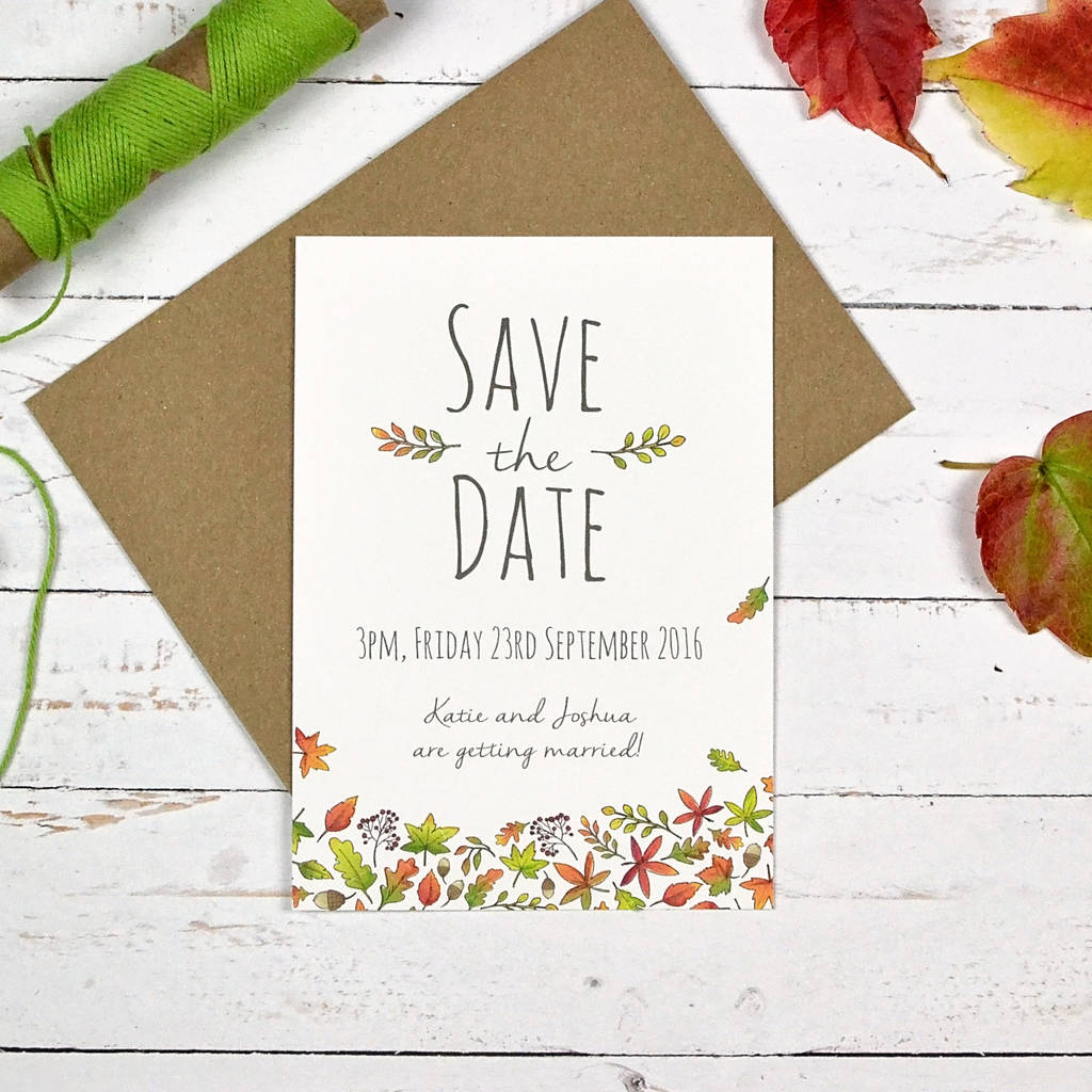 autumn leaves save the date by littlebird weddings