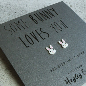 Sterling Silver Enamel Bunny Earrings