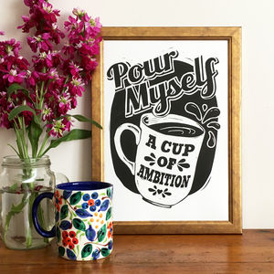 Cup Of Ambition Linocut Print
