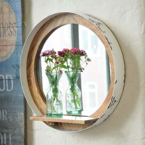 Vintage Industrial Porthole Mirror With Shelf - mirrors