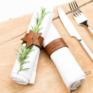 Personalised Leather Star Napkin Ring Set - dining room