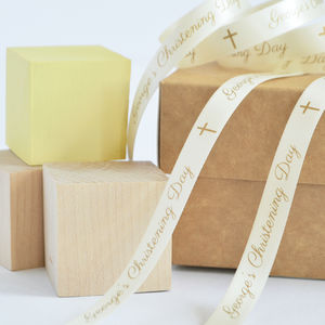 Christening 10mm Personalised Printed Ribbon - ribbon & wrap