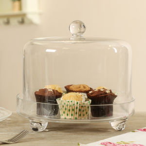 Glass Cake Stand With Cloche Lid - cake stands