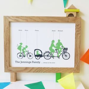 Personalised Family Biking Print - baby's room
