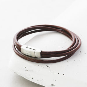 Men's Double Wrap Engraved Bracelet