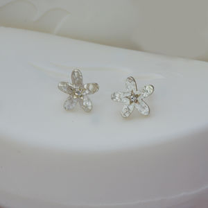 Silver And Diamond Flower Earrings - earrings